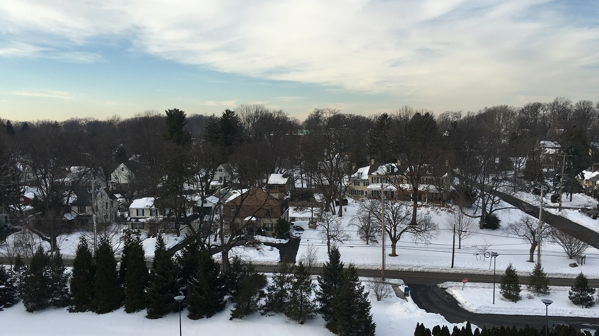 Highland Ave from Hospital with snow