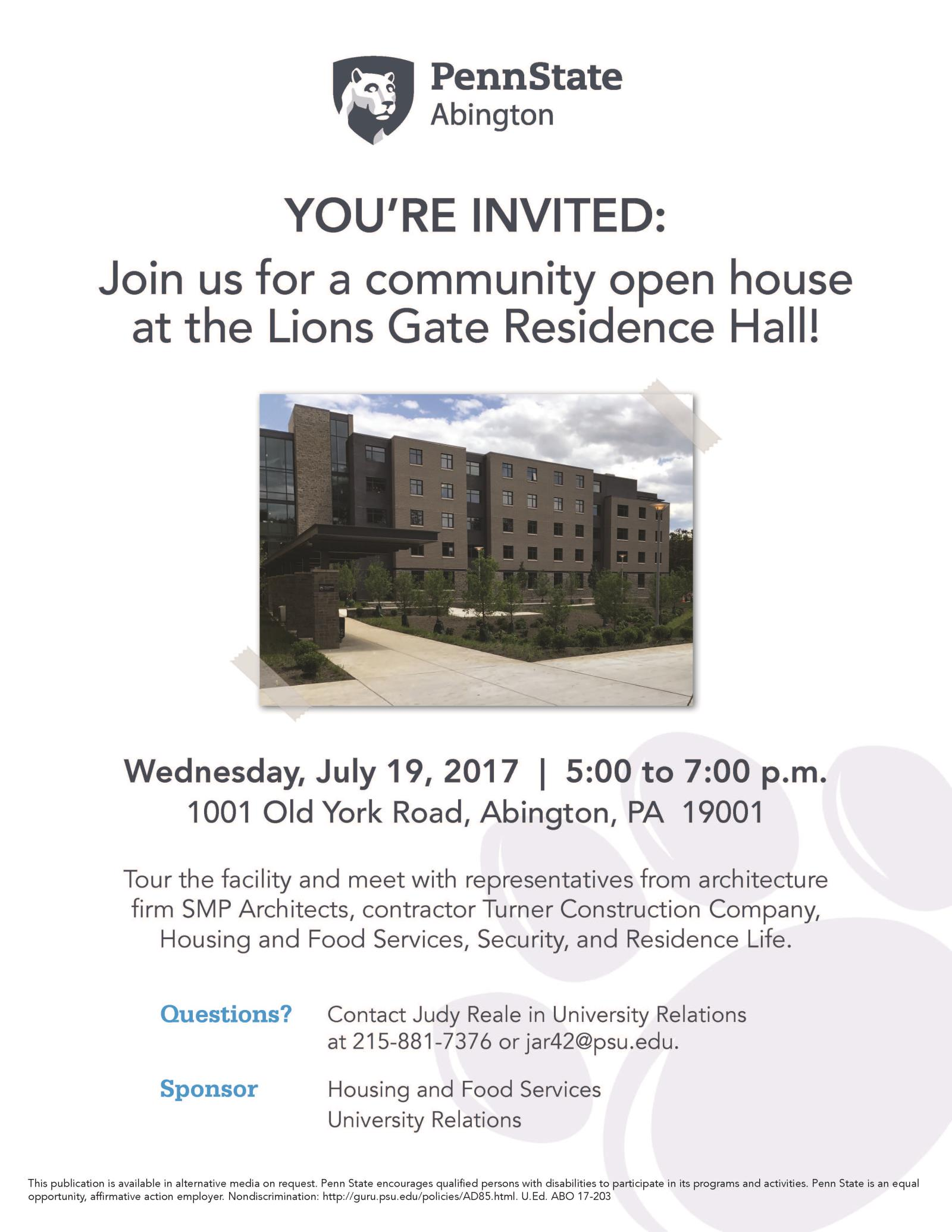 Residence Hall Open House Flyer 2017-1