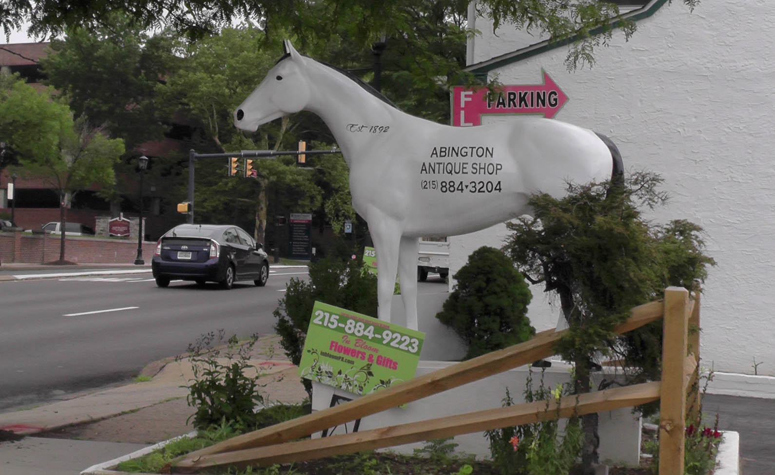 The Famous horse at the Abington Antique shop on Old York Rd