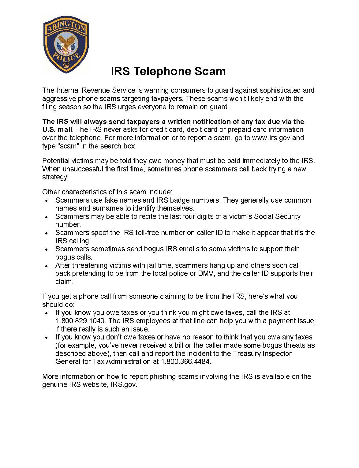 IRS Telephone Scam