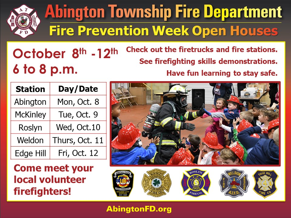 National Fire Prevention Week, Fire House Open House schedule