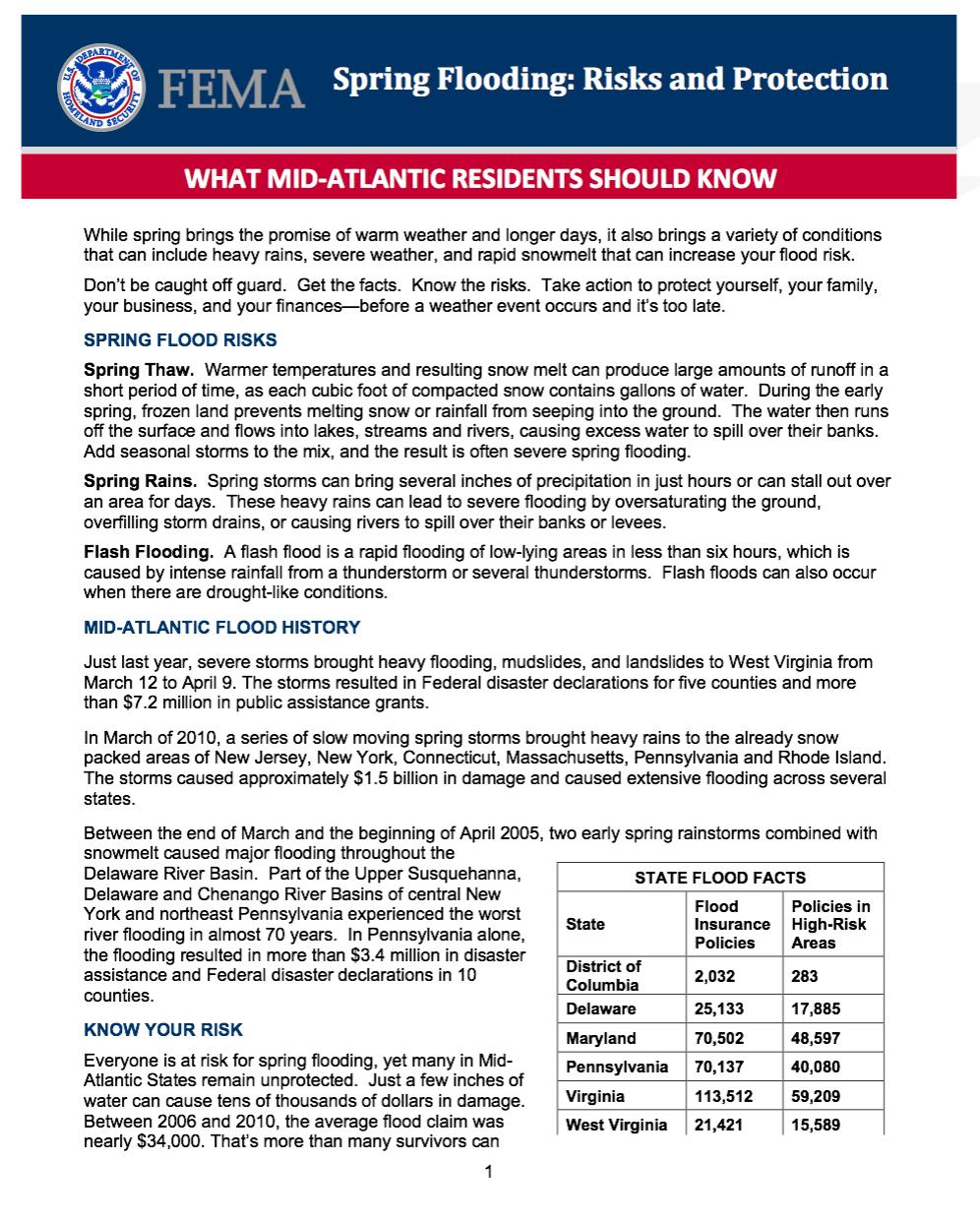 FEMA handout regarding Spring Flooding