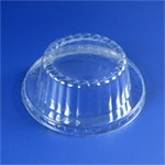 A fast food lid container as an example of a #6 plastic that can be recycled.