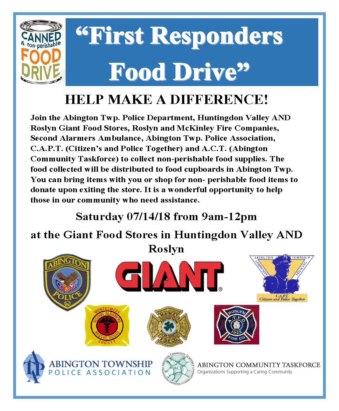 2018 food drive flyer