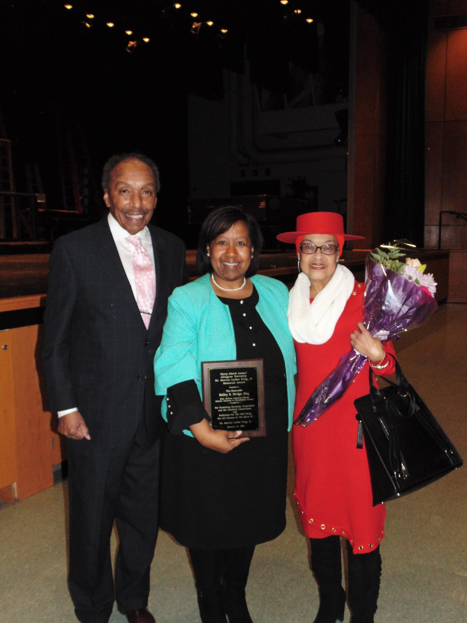 Picture of Keynote Speaker Honorable Kelley B. Hodge. Esquire with President of the Wayne Luker, Board President and his wife, Mrs. Luker.