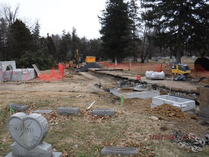 drainage construction in hillside cemetery