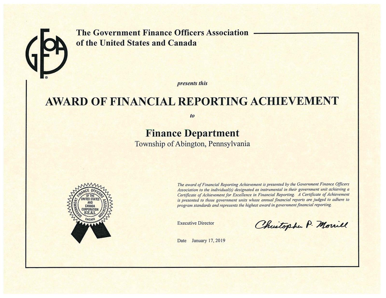 Finance 2017 CAFR Award Certificate