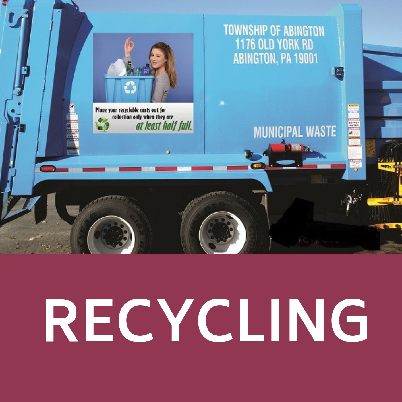 Recycling Icon that links to webpage with information about Township recycling