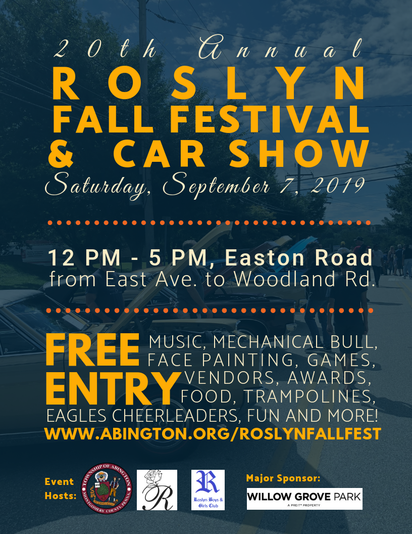 2019 Roslyn Fall Festival and Car Show Flyer