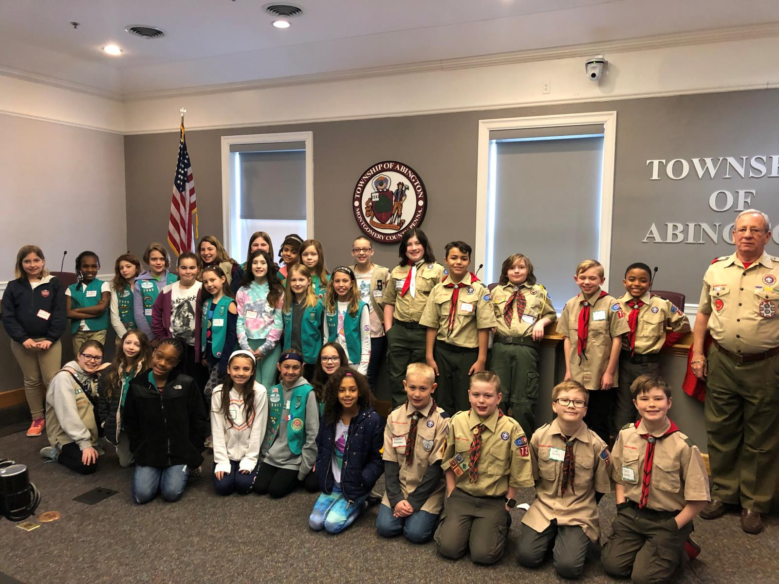 2019 Local Scout Day Group Picture of boys and girl scout participants.