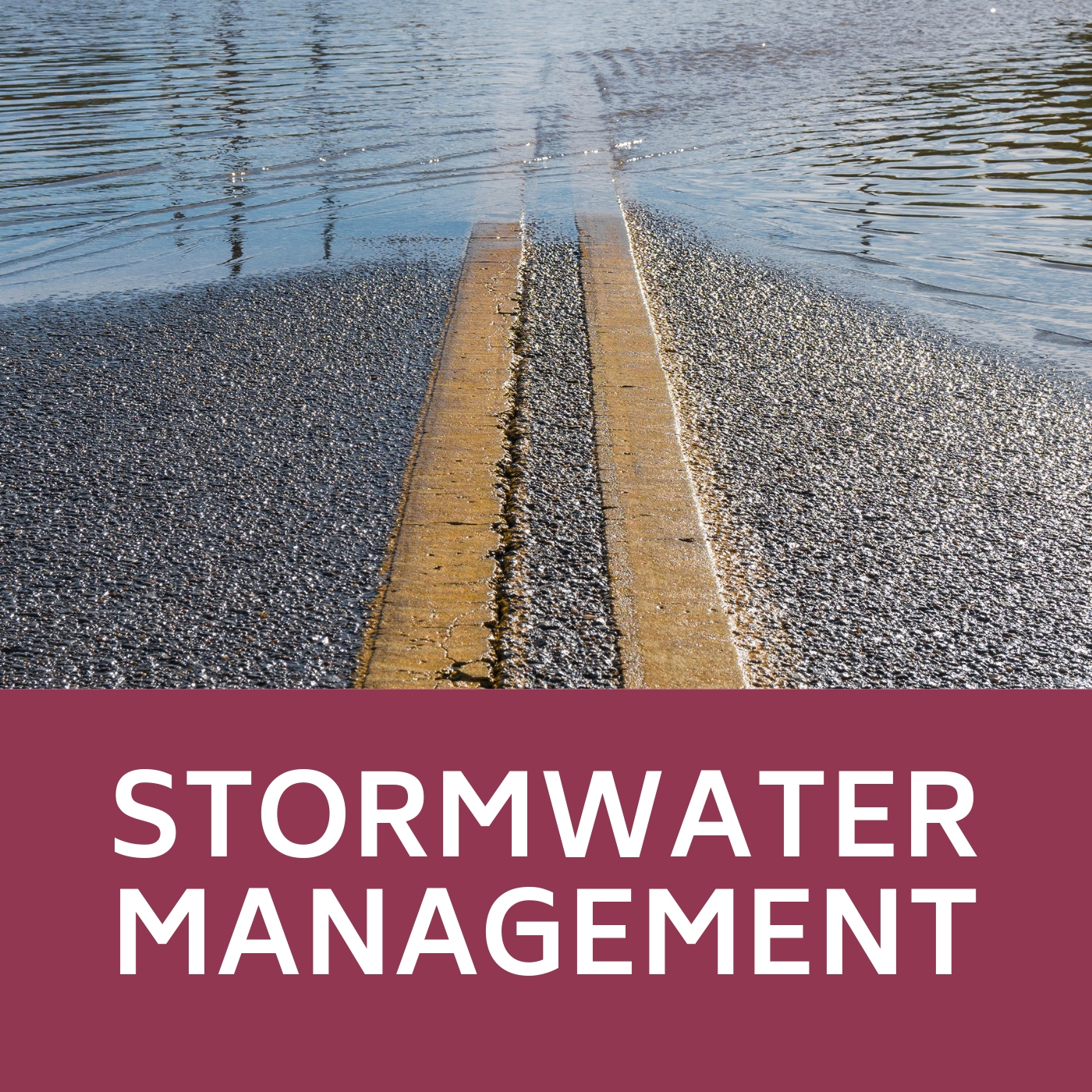 Stormwater Management icon of road that links to information about stormwater management.