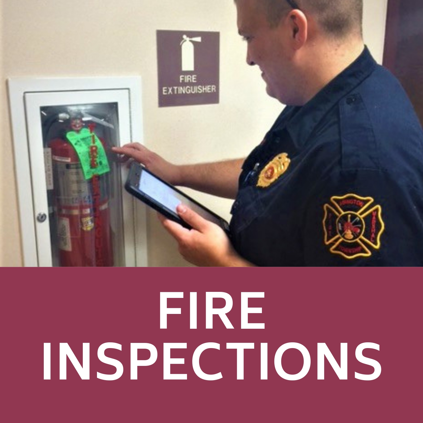 Image of Fire Extinguisher being inspected that links to the Fire Inspections web-page.