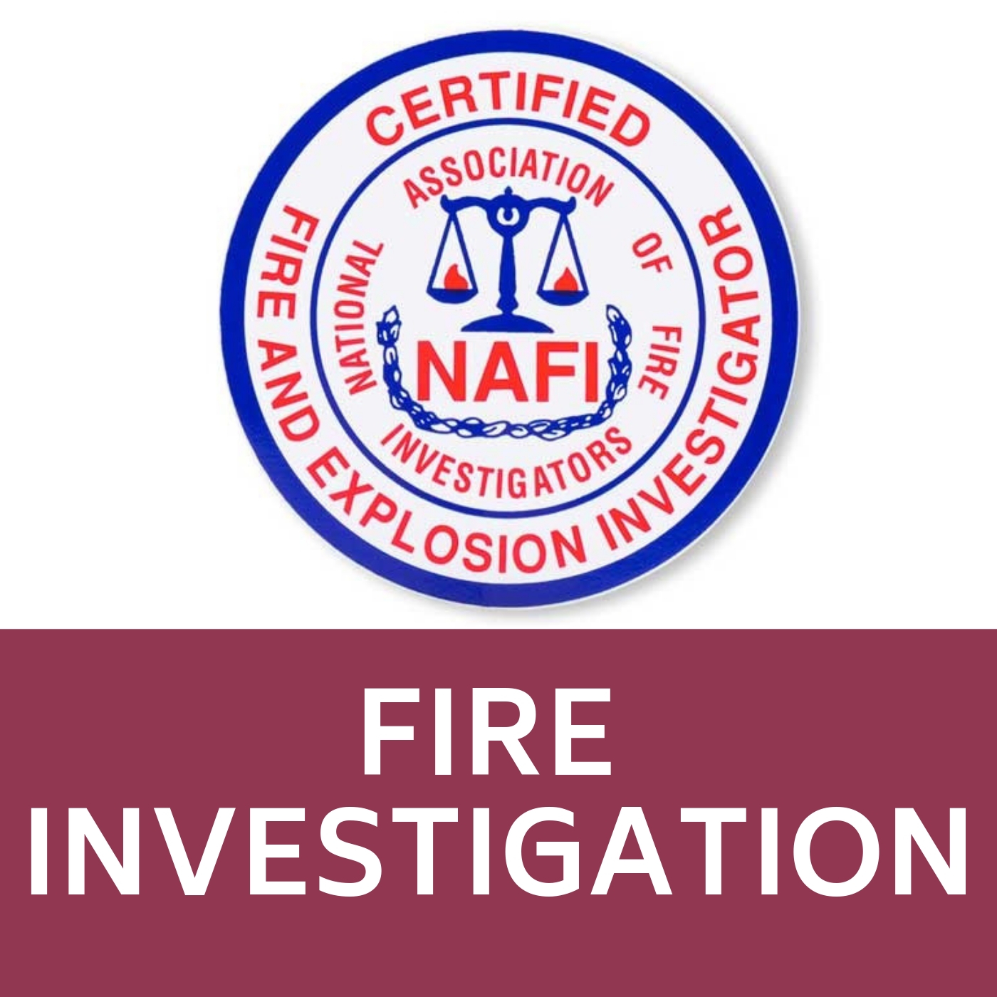 Fire and Explosion Investigator Seal that links to the Fire Investigation web-page.