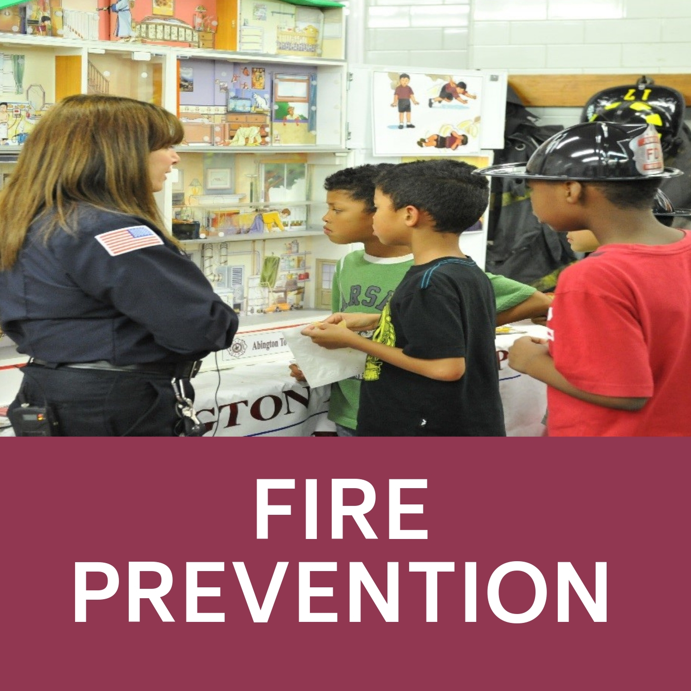 Students learning about fire safety that links to the Fire prevention web-page.