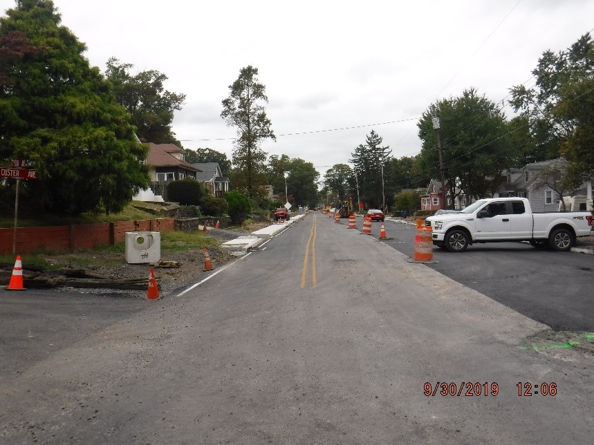 New concrete curb and sidewalk construction