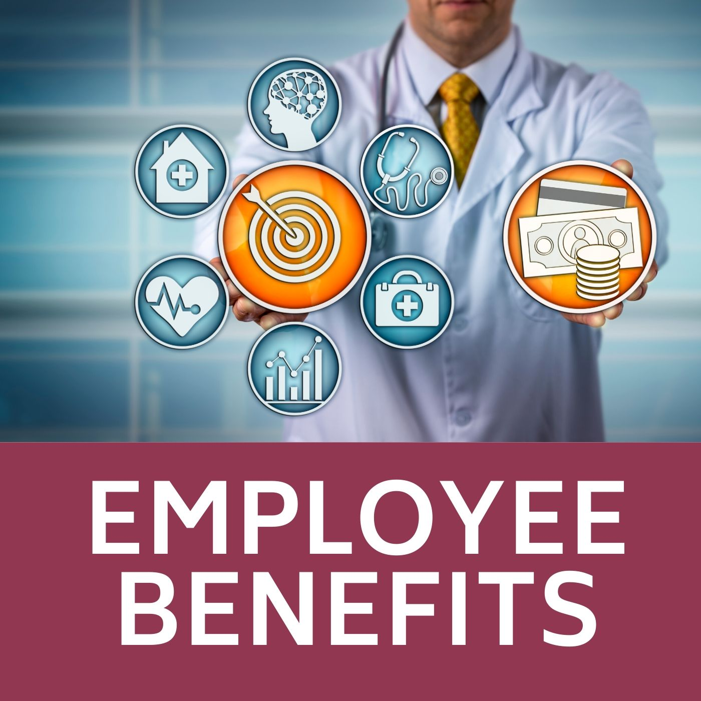 Image of doctor with icons of employee benefits that redirects to the employee benefist webpage.