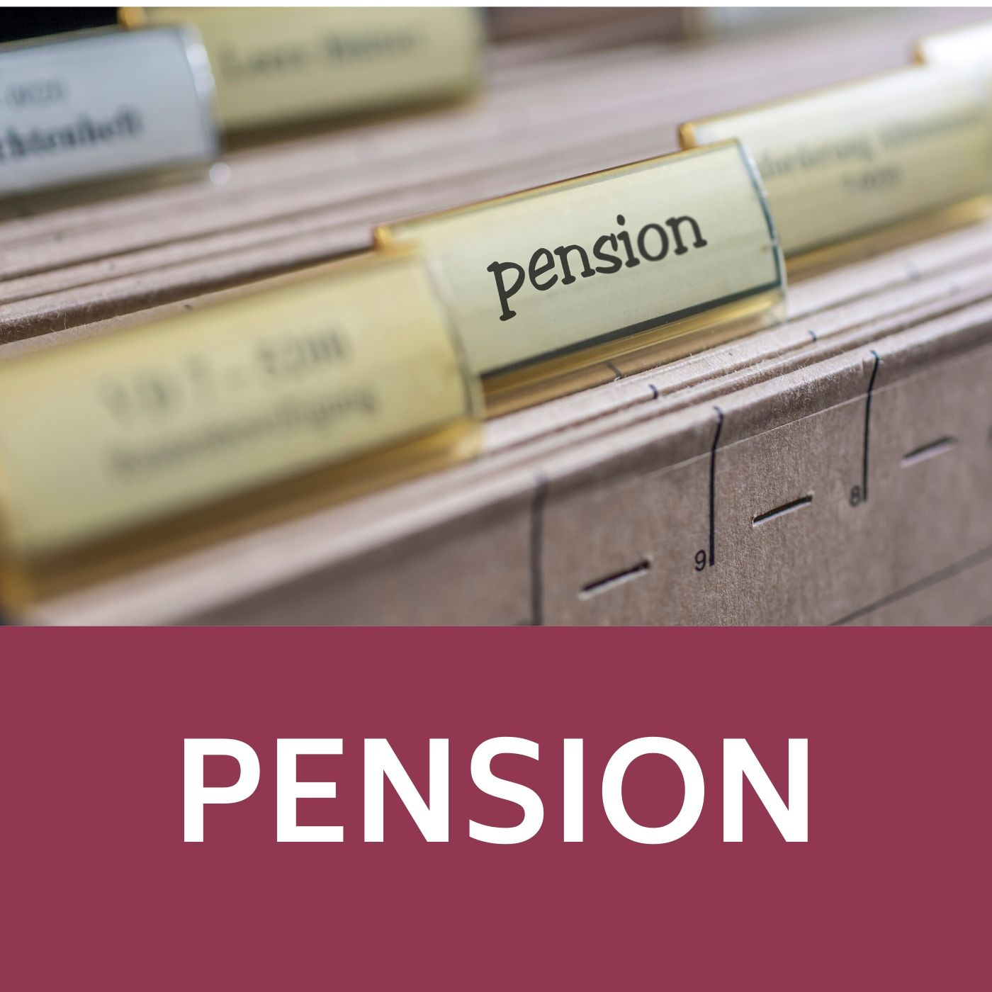 Image of filing cabinet with a folder tabbed pension that redirects to the pension webpage