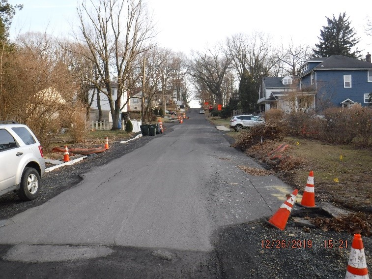 Ongoing reconstruction of Ardsley Ave. looking toward Edge Hill Road