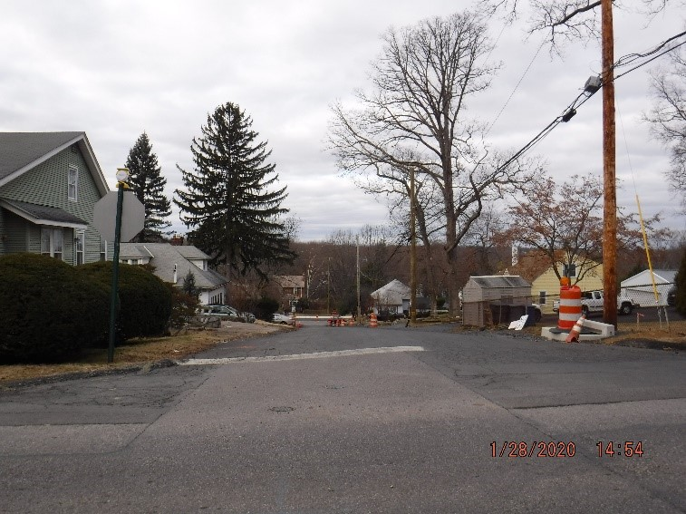 Ongoing reconstruction of Custer Avenue looking toward Tyson Avenue