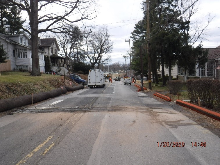 Utility relocation work on Edge Hill Road between Tyson Avenue and Ardsley Avenue