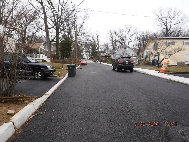 Ongoing reconstruction of Edgecomb Avenue looking towards Edge Hill Road