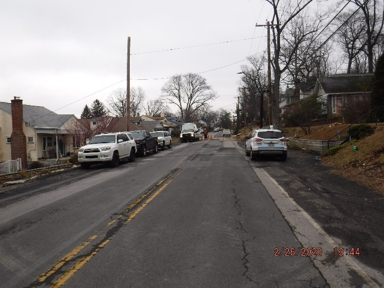 Utility relocation work on Edge Hill Road east of Custer avenue