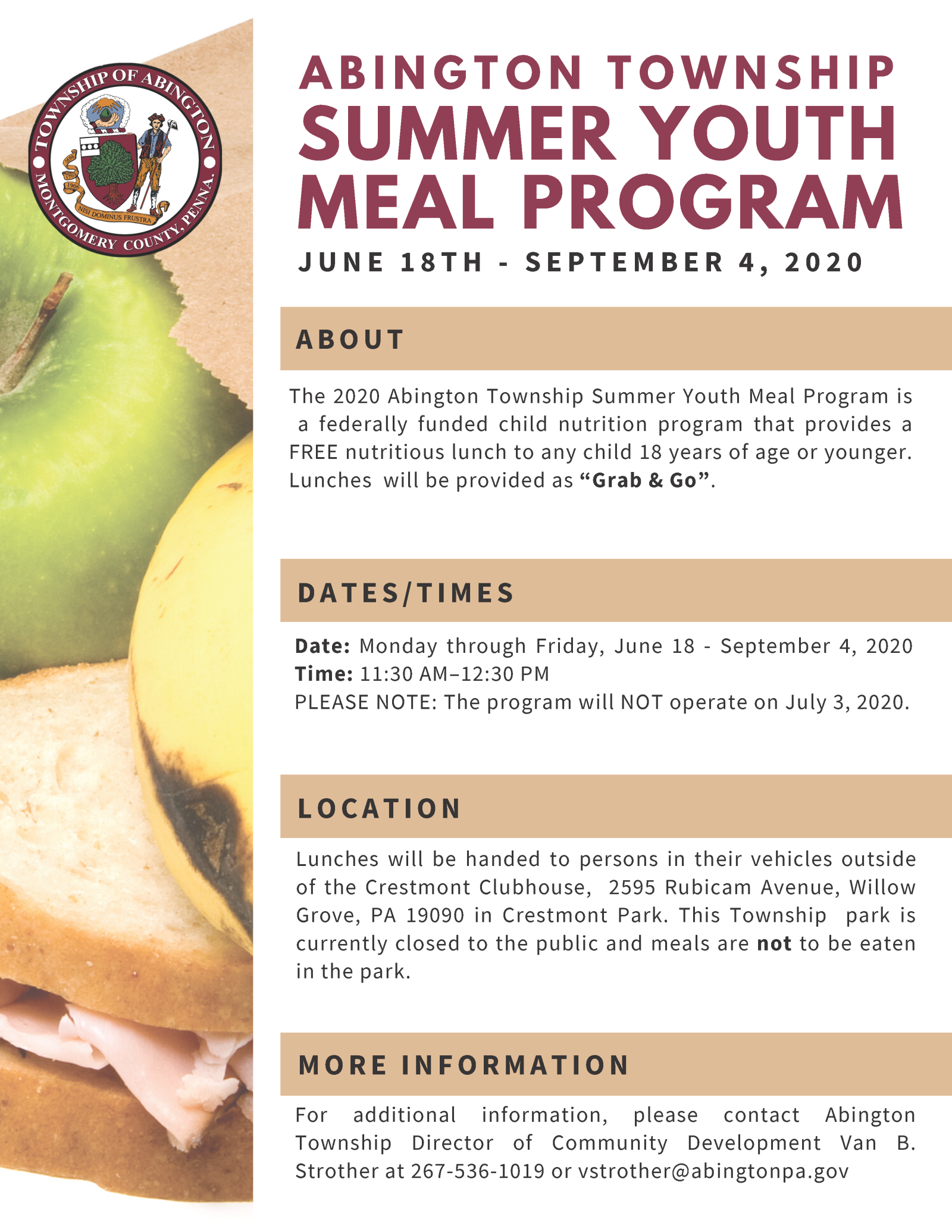 2020 Summer Youth Meal Program