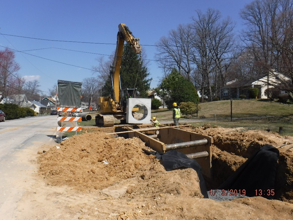 Drainage construction on the south side of Tyson Avenue