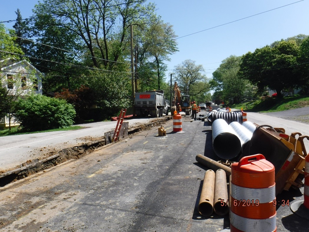 New water main construction on Tyson Ave.