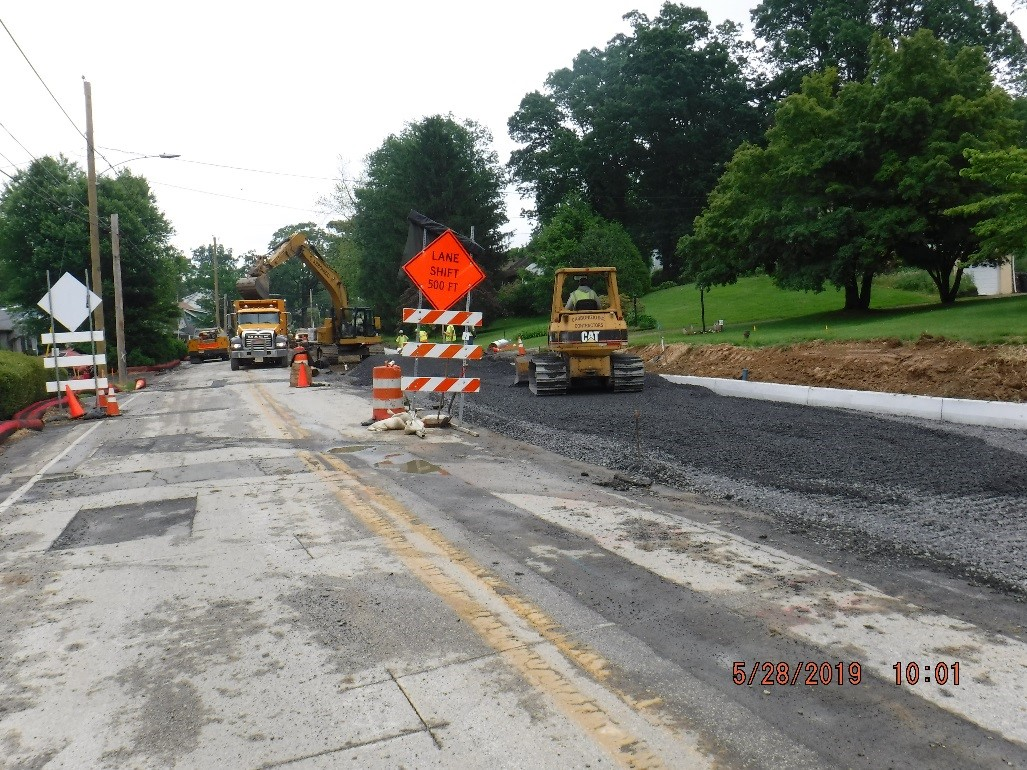 Stone subbase placement for new roadway on Tyson Ave.
