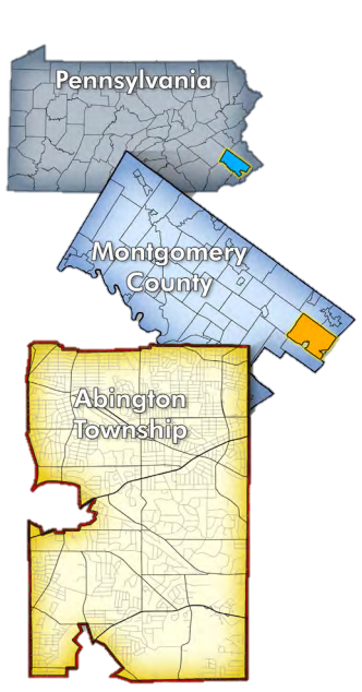 Illustration of Abington Township location in Pennsylvania.