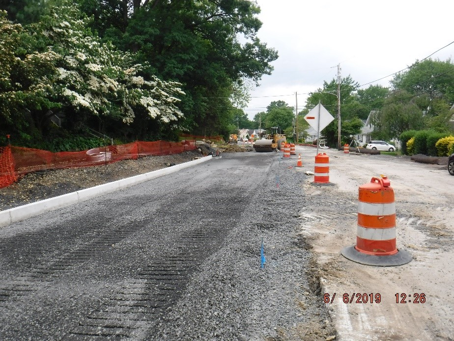 New roadway subbase construction on Tyson Ave.